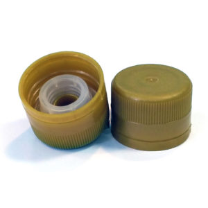 Gold Plastic Screwcap with pourer 31.5 x 24mm